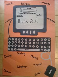 Elementary students thank Net Literacy high schools for providing their families computers