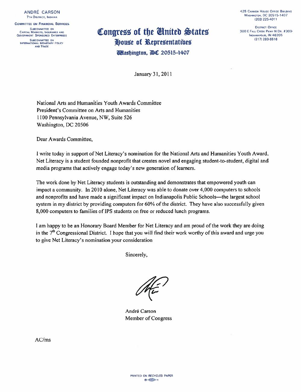 Congressman Carson's Letter of Support for Net Literacy
