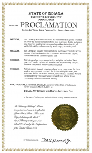Governor Daniels Proclaims 'Net Literacy & Digital Literacy Day for the State of Indiana'