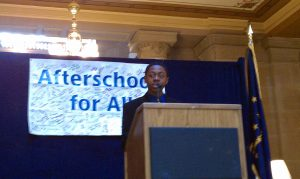 Student Chair David Johnson addresses members of the Indiana General Assembly and Afterschool Programs