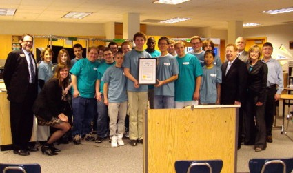 Carmel High School's Net Literacy Team with the Mayor and Superintedent
