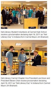 City of Carmel Recognizes Net Literacy Student Volunteers