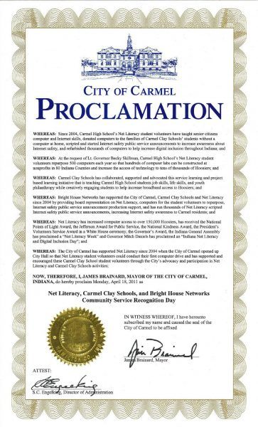 Net Literacy, Carmel Clay Schools, and Bright House Networks Community Service Recognition Day