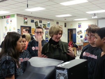 Students Show Representative Brooks How They Repurpose Computers