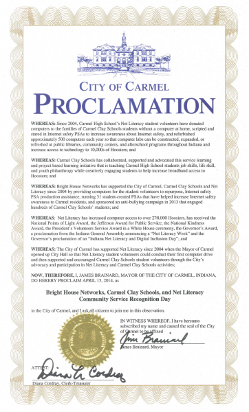 City of Carmel Proclaims Bright House Networks, Carmel Clay Schools, and Net Literacy Day