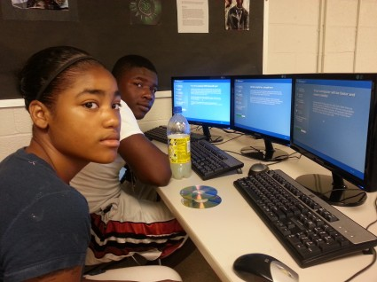 Student volunteers Learning Computer and Software Skills