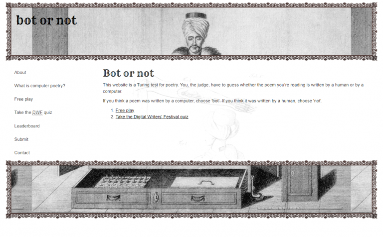 From Bot or Not: A free game where you guess if a poem is written by a human or by AI