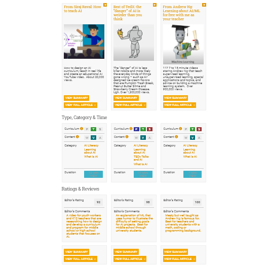 Site update: Compare 3 resources and each of their 10 features