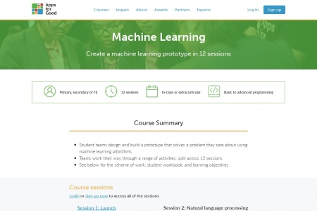 From Apps for Good: Create an ML prototype in 12 sessions for free