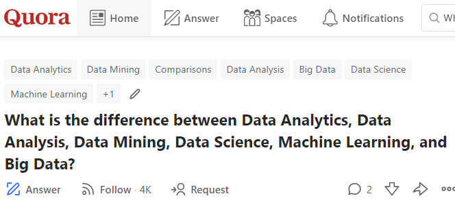 Crowdsourced by Quora: What's the difference between Data Analytics, Data Analysis, Data Mining, Data Science, ML and Big Dada jobs?